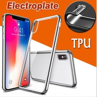 Gilded Electroplate Plated Soft TPU Clear Cover Case For iPh...