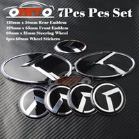 7pcs per kia distintivo auto Wheel Center Cap Trunk Emblem 3D sticker Boot Logo Hood Volante Etichetta Bonnet Cover OPTIMA K2 / K3 / K4 / K5 sorento