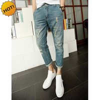 Wholesale-Hot Style Teenagers Design Slim Cuffed Destressed Moustache Effect Ninth Pants Casual Hole Ripped Jeans Light Blue Men Trousers