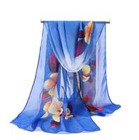 공장 도매 패션 꽃 공작 비치 스카프 시폰 조젯 실크 스카프 여성의 봄과 가을 해변 스카프 포장 Swhal 160 * 50cm