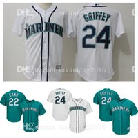 Seattle Mariners 22 Robinson Cano 24 Ken Griffey Jr. Maillots de Baseball MLB Hommes Majestic Northwest Green Alternate Cool Base Player Jersey