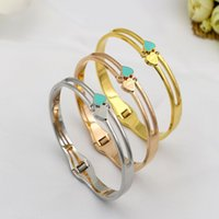 Fashion Jewelry Stainless Steel Bracelet & Bangle Green Colo...