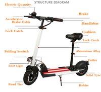 2016 nuevo diseño envío gratis 350W 36V 10 pulgadas 25-30km aleación de aluminio plegable scooter eléctrico / monopatín de la rueda electrónica