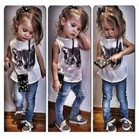 Neue Mode Mädchen Kleidung Sets 2-teilige Anzüge ärmellose T-Shirts und lange Jeans Cute Cat Print Kleinkind Mädchen Kleidungsstil