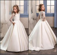 2017 Princess Flower Girl Dresses New Sheer Long Sleeves Whi...