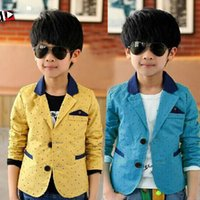 causal boy blazer suit classic stars blue&yellow cotton blaz...