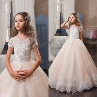 2017 Arabic Flower Girl Dresses Beaded Lace Blush Pink Tull ...