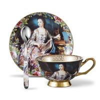 طقم صحن كوب شاي صيني من العظام يضع لوحة زيتية للشخص مع Spoons-10.2Oz ، مع علبة هدايا