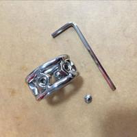 새로운 케이지 28mm / 30mm / 32mm 금속 수탉 반지 19mm 두께 스테인레스 스틸 페니스 링 스크류 스파이크 SM 장난감