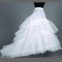 Sıcak Satmak Vintage Spandex Bel A Hattı Aldeskirt Petticoat Üç Katmanlı Uzun Tren Düğün Akşam Balo Elbise Kayma Ücretsiz Kargo