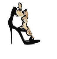 Hot sexy scava fuori i fiori oro foglia nuovo stile splendido diamante  ultra lusso aperto sandali peep toe tacchi alti scarpe femminili DHL libero 6eede6c330e