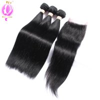 Brazilian Straight Human Hair With Lace Closure Human Hair E...