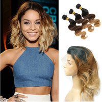 Three Tone 1b 4 27 Honey Blonde Blonde Cheveux Avec 360 Full Lace Frontals Vague de Corps Péruvienne Vierge Cheveux Ombre Bundles De Cheveux