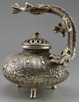 Sammlerstück dekorierte alte Handarbeit Tibet Silber geschnitzt Drachen Weihrauch-Brenner