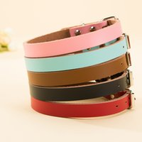 Classic Plain Leather Dog Neck Adjustable Collars Simple Des...