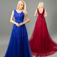 2021 Royal Blue Формальные платья Вечерняя одежда V-образным вырезом Без рукавов Линия Аппликация Кружева Разведка Поезд плюс Размер PROM Гостевое платье