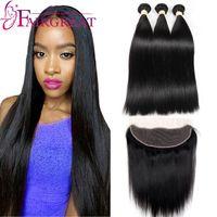 Brésilienne Droite Extensions de Cheveux Humains avec Dentelle Frontale Vierge Cheveux Weave Bundles Naturel Noir Vierge Cheveux Humains Produits En Gros