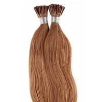 Коричневый мед блондинка прямо необработанные перуанский i-tip человеческих волос бразильский человеческих волос предварительно связанные наращивание волос 50 грамм