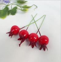 15mm Decorazioni natalizie Testa di perle Rosso Melograno Frutta Artificiale Fiore Artificiale Artigianato Decorativo Fiori decorativi 1000pcs / lot