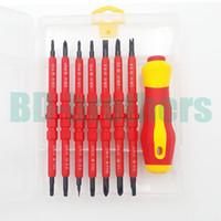 Rot 7 in 1 Isolierte Schraubendreher Set 500 V Hochwertige Isolierende CR-V Magnetische Isolierte Schraubendreher Kit 20 satz / los