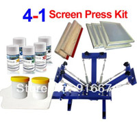 سريع وحرية الملاحة! 4 لون الشاشة الحريرية الطباعة عدة الحبر تي شيرت طابعة الصحافة معدات كاروسيل امتدت إطار الممسحة