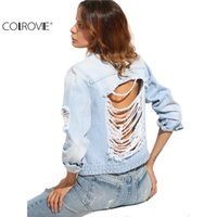 COLROVIE Mujeres Long Sleeve Casual Coat Azul Botones Ripped Back Lapel Bolsos Single Breasted Denim Chaqueta 17309