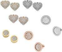 Moda 6styles de oro chapado de oro / plata / oro de Rose Corazón M $ K tono de bloqueo de teclas del Rhinestone Carta Estilo Logo Marca Stud Pendientes
