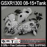 8Gifts för Suzuki Hayabusa GSXR1300 08 15 GSXR-1300 Svart flammor 14MY129 GSXR 1300 GSX R1300 08 09 10 11 12 13 14 15 Fairing Gloss White Kit