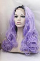 2017 высокая термостойкость 1B / фиолетовый кружева передние парики волокна длинные волны тела роскошные синтетические парики волос ombre парик волос для продажи