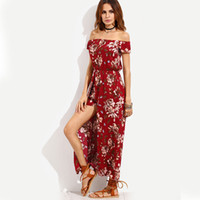 Boho style long bohemian dress women Off shoulder flora prin...