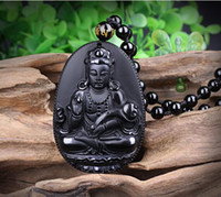 Natural Black Obsidian Carved Ruyi Guanyin Buddha Pendants F...