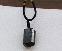 Natural black tourmaline ore energy chakra stone pendant Gem...