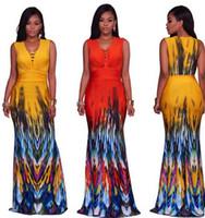 yaz yeni kadın bohem elbise Boho tarzı Moda çiçek baskı plaj elbise Vintage maksi elbise vestidos gündelik Parti Mermaid toptan etek