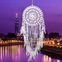 수제 레이스 드림 포수 원형 장식 깃털 장식 장식 공예 선물 Crocheted 화이트 Dreamcatcher 바람 종소리