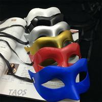 50 adet yarım yüz maskesi Cadılar Bayramı Masquerade maske erkek, Venedik, İtalya flathead erkekler yüz maskeleri Cadılar Bayramı Parti maskeleri I058