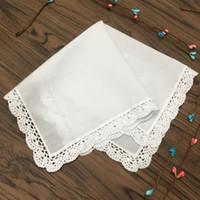Conjunto de 12 Têxteis Para o Lar Das Senhoras Lenço de Algodão Branco Do Laço Do Casamento Nupcial Hankies Lenço 12x12 polegadas