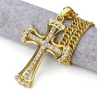 Aleación clásica Jesus Cross colgante de Hip hop collar FULL Rhinestones gruesos chapado en oro hip-hop jewelry Hiphop styles mens collar