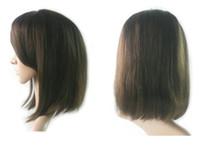 Billig kurze Bob Gerade Jungfrau Menschliche Haarperücken mit Sind Bange für Schwarze Frauen Bob Gerade volle Spitze Perücke Kostenloser Versand