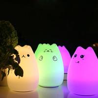 Silikon-LED-Nachtlampe tragbare weiche Baby-Licht-Lampe 7-Color Flashing USB wiederaufladbare Beleuchtung Kinder Nachtlicht