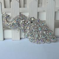 All'ingrosso Lager argento Crystal AB strass Spilla Grande pavone Spille per le donne bouquet di nozze della clip Sciarpa Fibbia Hijab Pins 09014