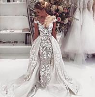 2018 SpitzeAppliques Brautkleider Brautkleider mit Overskirt Sexy Sheer Bateau kurzer Ärmel vestidos de novia Maß Zu