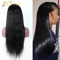 JYZ 130 % 밀도 레이스 프론트 인간의 머리 가발 페루 버진 헤어 프론트 레이스 가발 똑바로 전체 레이스 흑인 여성을위한 인간의 머리 가발