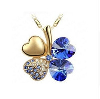 18 Karat vergoldet vier blattklee österreichische kristall halskette für frauen braut hochzeit schmuck schöne geschenk wholeasale preis