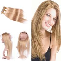 Trama di capelli lisci con Pre-pizzicato 360 Frontale 4 Pz / lotto Miele Biondo 27 Capelli 3 pacchi con 360 frontale 22.5x4x2r