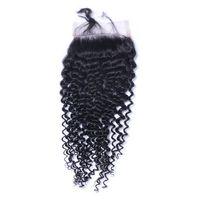 Kıvırcık Dantel Kapatma ağartılmış Knots Brezilyalı Virgin Derin Kıvırcık İnsan Remy Saç Kapatma Ücretsiz Orta 3 Part İpek Bankası 4 * 4 Dantel Kapanış