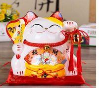 Ornements de chat chanceux de haute qualité ouvrant le magasin en céramique électrique de chat d'or ouvert