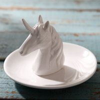 13x9cm Nordic unicorn ceramic jewelry tray ring storage plat...