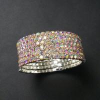 6 Rangées Spirale Cristal Strass Bracelet Stretch Bracelet Vente Chaude De Mariée De Mariage Bijoux Accessoires pour Femmes