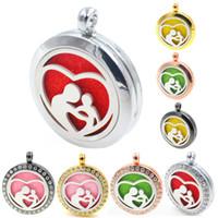 Maman bébé coeur 30mm parfum aromathérapie diffuseur essentiel médaillon flottant médaillon comme cadeaux (tampon de collier gratuit) XX15