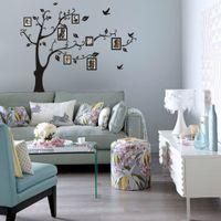 venda quente tamanho grande família preta foto quadros árvore adesivos de parede, DIY decoração de casa decalques de parede moderno arte murais para sala de estar